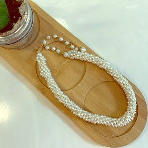 Jewelry - Braided Faux Pearl Choker Necklace